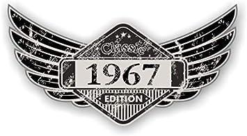 Sticker Licker Distressed Aged Geflügelte Klassisches Edition Wappen Year Vom 1967 Vintage Retro Cafe Racer Design Externe Vinyl Auto Motorrad Aufkleber 125x67mm Auto