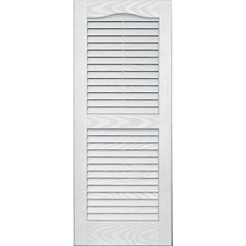 4X35 Louver Arch Shutter/Pair 123, White (Wood Louvered Shutters)