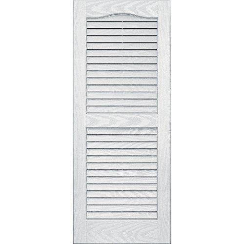 Vantage 0114035123 14X35 Louver Arch Shutter/Pair 123, White by Vantage