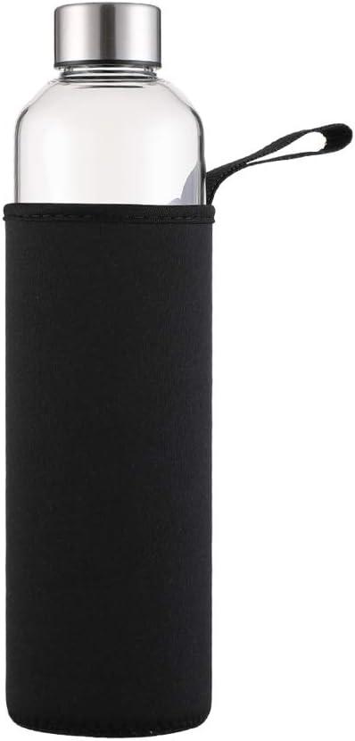 Botella Agua Cristal 1 Litro sin Bpa de Claro Borosilicato Vidrio con Neopreno Funda Reutilizable y Durable