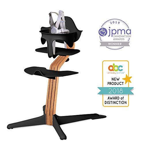(Nomi High Chair, Black - Premium Natural Oak Wood, Modern Scandinavian Design with a Strong Wooden Stem, Baby Through Teenager and Beyond with Seamless Adjustability, Award Winning)
