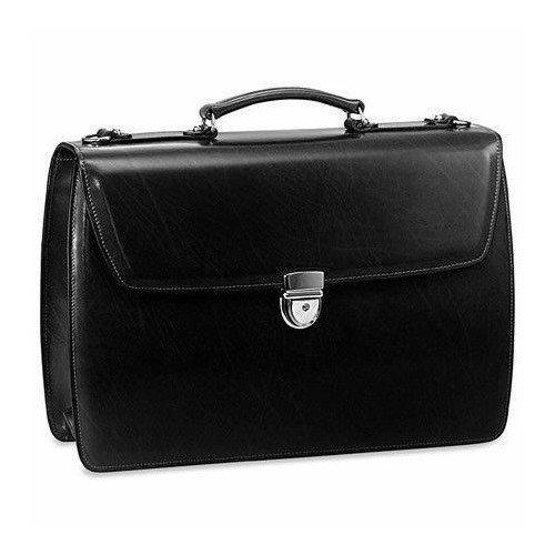 Jack Georges Elements Double Gusset Flap Leather Briefcase 4402 - Cognac ()