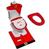 apartment bathroom decorating ideas D-FantiX 3D Nose Santa Toilet Seat Cover Funny Christmas Decorations Bathroom Set of 5