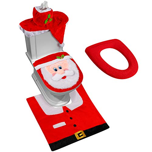 D-FantiX 3D Nose Santa Toilet Seat Cover Funny Christmas Decorations Bathroom Set of 5 (Decorations Christmas)