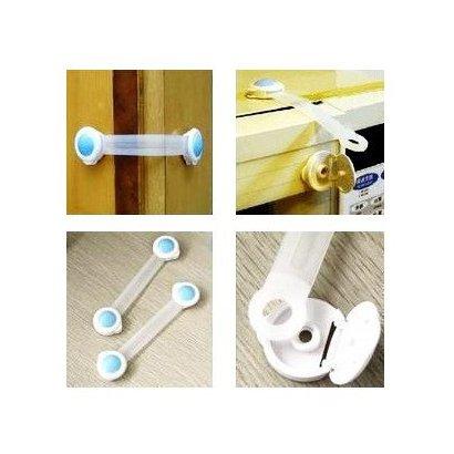 SODIAL(TM) A Prueba de Bebes 2 x Adhesivo Universal de Puerta de Armario Frigorifico Cajon Cierre de Seguridad para Ninos - Rosa / Azul