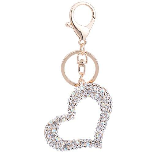 Heart Shape Keychain Charm Pendant Handbag Bag Keychain Key Ring (Silver)