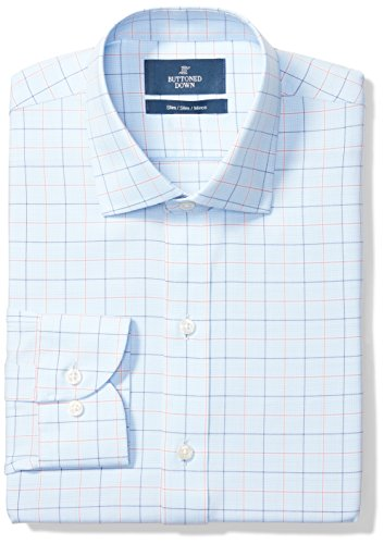 BUTTONED DOWN Men's Slim Fit Spread-Collar Pattern Non-Iron Dress Shirt, Blue/Orange Tattersall Check, 16