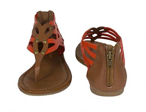 ... Lustacious Kvinner Thong Kutte Ut Flat Sandal Med Glidelås Bak Oransje  Tan Lær