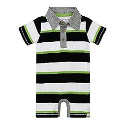 Burt\'s Bees Baby Boys\' Organic Cotton Polo Shortall, Multi Knit Terry Stripe, 6-9 Months