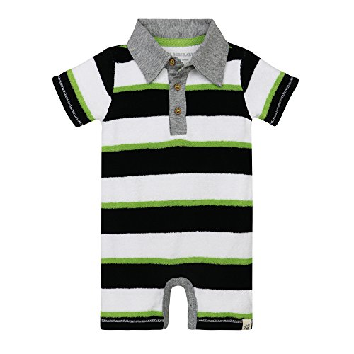 Burt's Bees Baby Baby Boys' Organic Cotton Polo Shortall, Lime, 0-3 Months (Jersey Stripe Bold Polo)