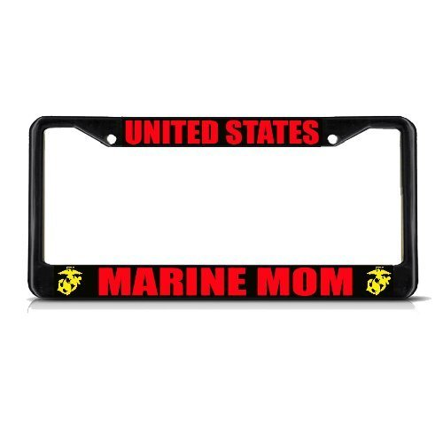 License Plate Frame United States Marine Mom Black Quote Auto Tag Holder Christmas Gift