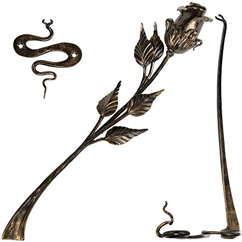 Hand Forged Metal Rose Flower 16in Iron Sculpture w/ Stand and Wall Holder Wrought Steel Decorative Flower Centerpiece Decoration Unique Anniversary, Wedding, Mom's day Gift, Black w/Gold Patina, Mat -