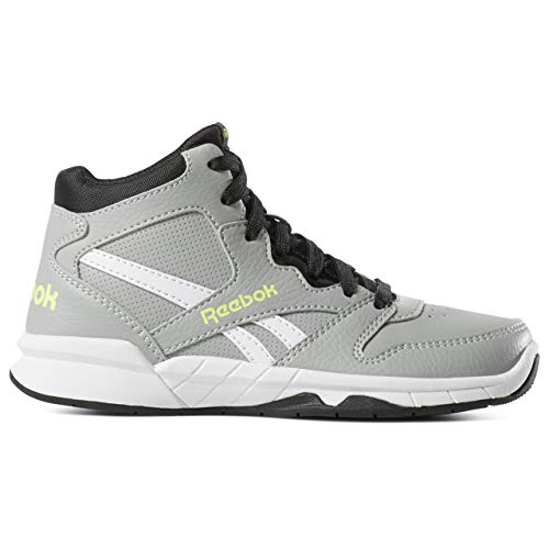 Reebok Boys' BB4500 HI 2 Sneaker, Baseball Grey/Black/neon Lime, 6.5 M US Big Kid