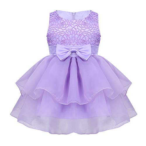 MSemis Baby Girls Embroidered Flower Dresses Christening Baptism Party Formal Dress Lavender Organza 6-12 Months
