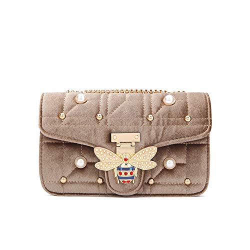 Brand velvet shoulder Bags fashion Diamond Women Bag Designer Handbags Chain Ladies Women Messenger Bag,Khaki