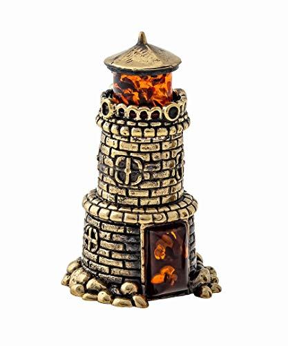 Amber and Brass Decorative Bell (Light House) Original Souvenir from Kaliningrad, Russia. Packed in a Beautiful Siberian Birch Bark Gift Box (Random Selection)