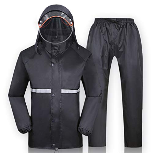 Zfusshop Rain Coat Rainsuit (Rain Jacket and Rain Pants Set) Adults Rainproof Windproof Hooded Outdoor Work Motorcycle Golf Fishing Hiking Black Rainy Season,Snowy Day,Lightweight,Quick Drying