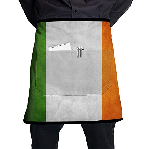 - ALLMYHOMEDECOR Vintage Ireland Flag Waist Aprons Bib Mens Womens Adjustable Polyester Cooking Gardening BBQ Kitchen Chef Apron for Outdoor Serving Grill Restaurant Cleaning Baking Crafting