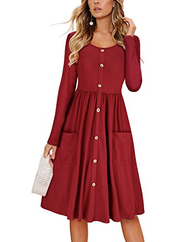 KILIG Women's Dresses Long Sleeve Casual Button Down Swing Dress with Pockets(Wine,L)