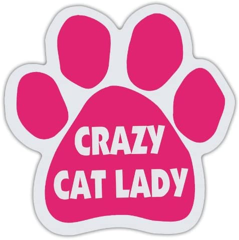 I Love My Cats Paw Print Magnet 5 inch Pink and White Decal Great for Car//Truck