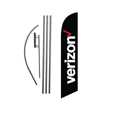 new-verizon-wireless-black-advertising-feather-banner-flag-set-includes-15ft-4pc-pole-kit-w-hardware