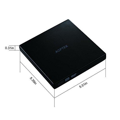 AGPtEK OD01 8X USB 2.0 Portable DVD+/-RW External Drive, Plug and Play, Support Windows 98SE/ME/2000/XP/Vista/7/8/10 /Mac OS 8.6.Black