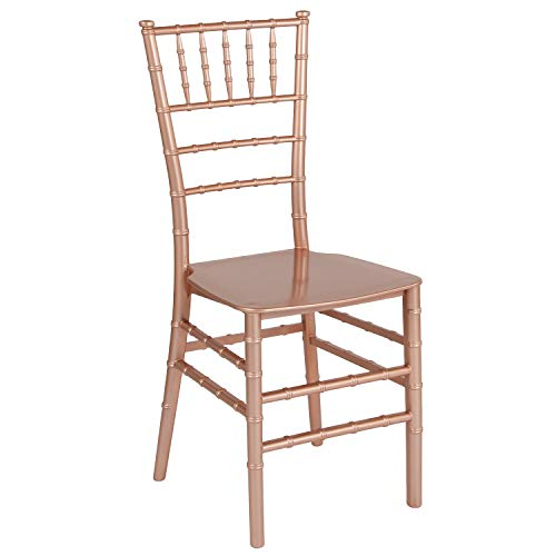(Flash Furniture HERCULES Series Rose Gold Resin Stacking Chiavari Chair)