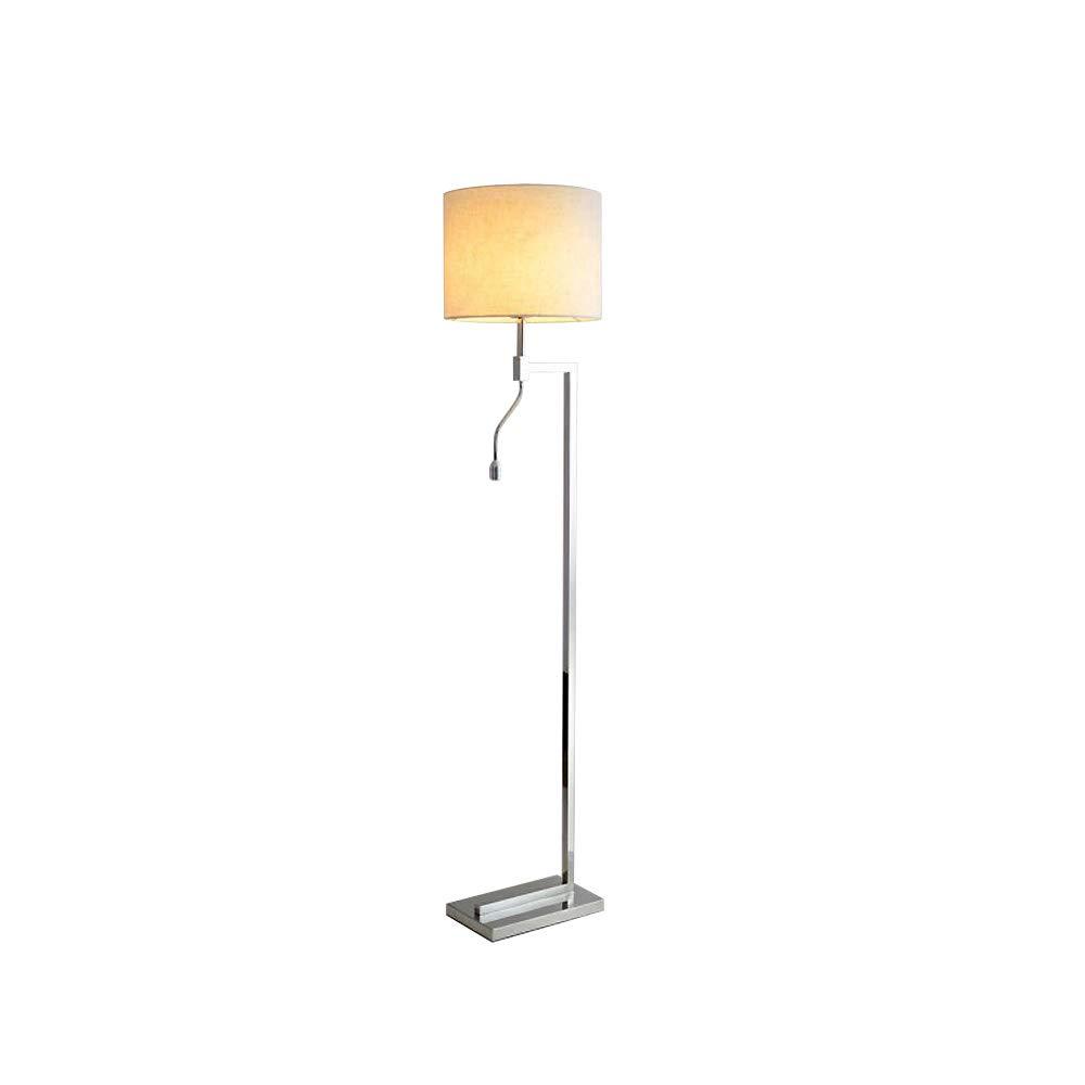 ZMH LED-Stehleuchte mit Leselampe Stehlampe Standleuchte, für Schlafzimmer, Wohnzimme, Nachttischlampe aus Metall und Stoff, perfect für Wohnzimmer, Schlafzimmer, Hotel, E27 Leuchtmittel inklusiv