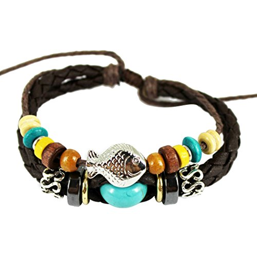 [Real Spark(TM) Women's Fish Charm Turquoise Bead Braid Weave Leather Wrap Adjustable Bracelet] (Dance Costumes Supplies Sydney)