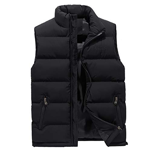 (TIFENNY Men's Autumn Winter Jacket Casual Pocket Pure Color Stand Neck Zip Waistcoat Vest Top Warm Coat)