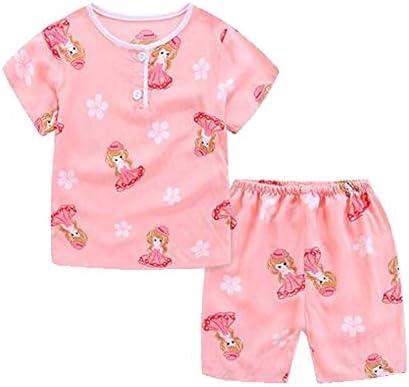 かわいい漫画の女の子のパジャマソフトコットン子供夏の子供の寝間着