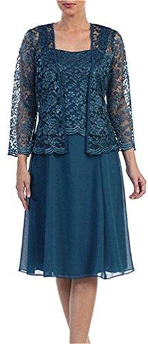 cdbb2abde8f MenaliaDress Two Piece Set Tea Length Mother Of Bride Dress With Jacket  M109LF Teal Green US14