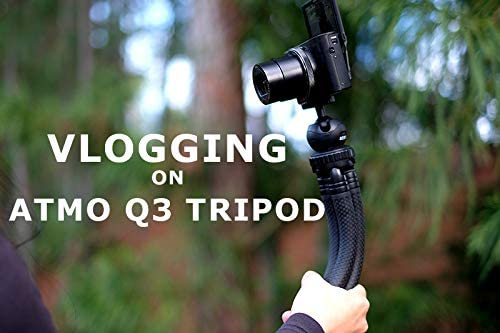 ATMO Q3 Flexible Mini Tripod Waterproof 12-in Selfie Black Portable for Travle Sports Vlog Tabletop Tripod Use for Mirrorless Lightweight Compact Camera Action Cam Outdoor