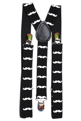 Youth Black with White Mustaches Suspenders