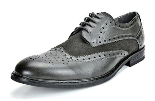 Bruno Marc Men's Dress Shoes Wingtip Oxford Prince-09 Grey 8 M US (Best Dress Shoes For Grey Suit)
