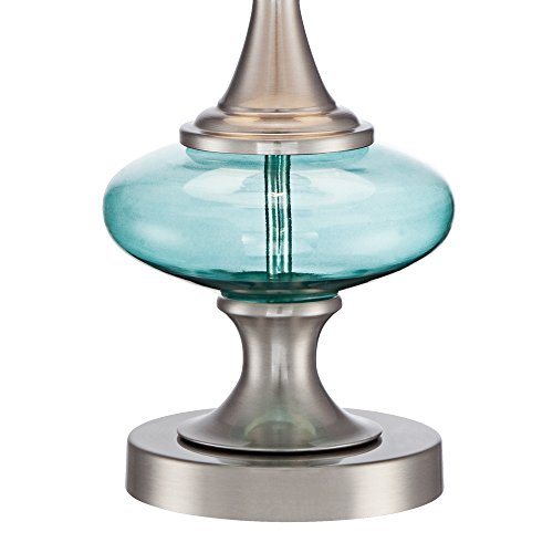 Reiner Brushed Steel and Blue-Green Glass Table Lamp by 360 Lighting (Image #4)