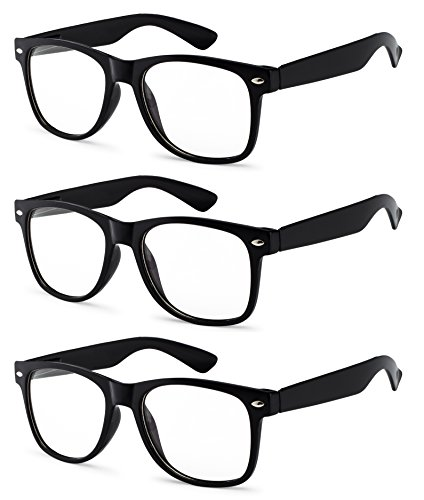 OWL - Non Prescription Glasses - Clear Lens Black Frame - UV Protection (3 Pack) -