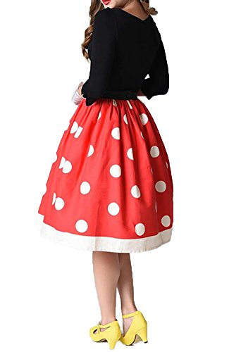 ezShe Women's Elastic Waist Polka Dot Bubble Pleated Skirt, XL Red]()