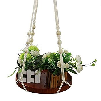 Macrame Plant Hanger - Indoor Planter Haning Shelf - Boho Chic Bohemian Home Wall Hanging Decor - Decorative Flower Pot Holder, for Succulents, Cacti, Herbs, Small Plants