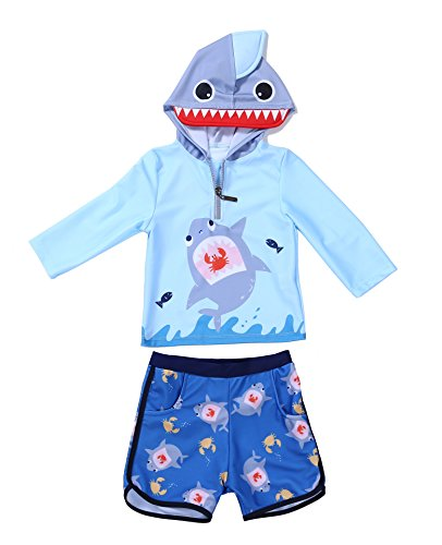 Moomintroll Baby Toddler Boys Two Piece Swimsuit Set Kids Swimwear Rash Guard Swimsuit Sun Protection UPF 50+