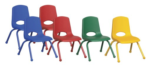 ECR4Kids 12'' School Stack Chair, Powder Coated Legs and Ball Glides, Assorted (6-Pack) by ECR4Kids