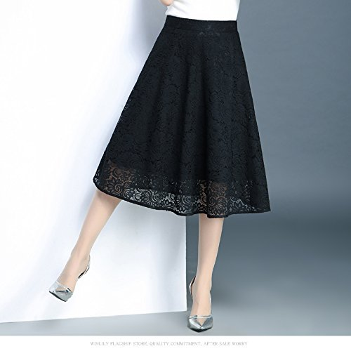 WCZ Femmes Noire Jupe Haute Dentelle Plisse Jupe des Jupe en Ligne Longue d't 67cm Jupe Taille a Jupe raqrwHx1
