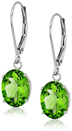 Sterling Silver Oval Peridot Dangle Earrings - Oval Peridot Polished Earrings