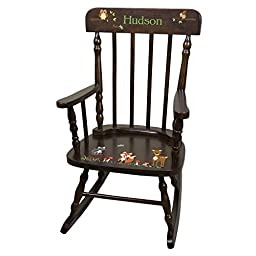 Personalized Espresso Forest Animals Rocking Chair