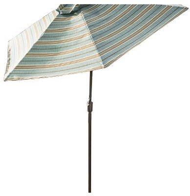 Agio International Azb00205k23 Sommerset Mixed Media Patio Collection Market Umbrella, Blue, Green & Beige Stripe Polyes Patio Umbrellas & - Sommerset Collection