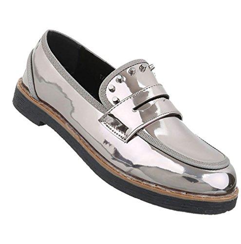 Damen Schuhe Halbschuhe Slipper Grau