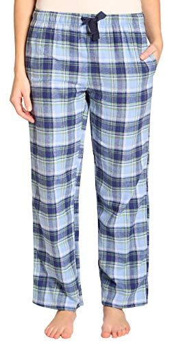 EVERDREAM Sleepwear Womens Flannel Pajama Pants, Long 100% Cotton Pj Bottoms,Size XXX-Large Blue