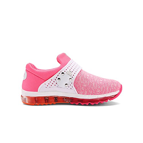 VILOCY Unisex Kinder USB Lade LED Aufhellen Jungen Mädchen Leuchtend Sneaker 6 Farbe Pink EU29