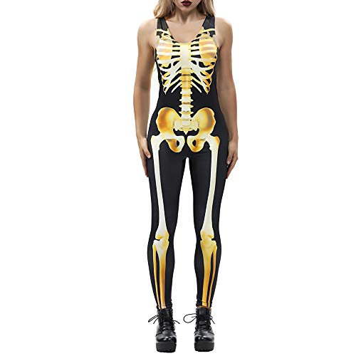 (DEATU Clearance Sales! Halloween Costumes Women Jumpsuit Promotion! Ladies Casual Sexy Bone Print Fashion Sling Slim)