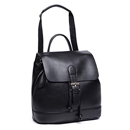 Dos College Ados Grand Cuir Noir Fille Noir Adulte Femme Sac Backpack Épaule de Petit Cordon Porté Ecole a Voyage pour à OxOtEwv